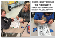 Students use cranberries to build math-based shapes
