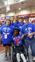 Five Special Olympics athletes attended and medaled in Special Olympics 2017 State Summer Games. Pictured with their coach, from left: Tammy Mitchell, Johnny Royalty, Jacob Nele (front), Coach Rita Arthur, John Geyer, and Jerry Coyle.