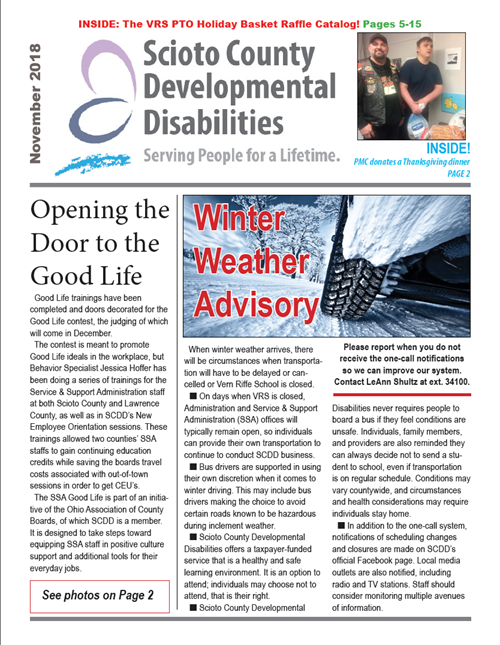The cover of the November 2018 SCDD newsletter