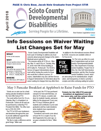Cover of the April 2018 newsletter featuring waiver waiting list info sessions and the VRS PTO pancake breakfast.