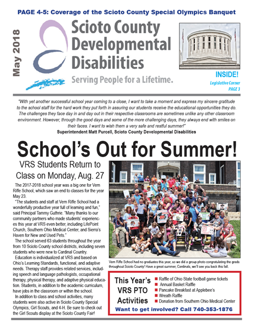 Cover of the May 2018 newsletter
